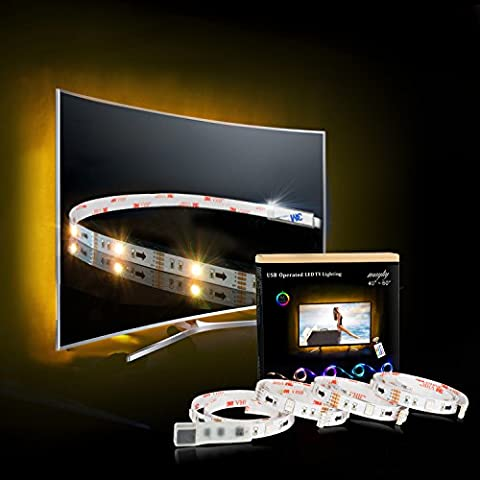 LED Strip, TV Hintergrundbeleuchtung 2M/6.56ft USB LED Beleuchtung Für 40 bis 60 HDTV RGB LED TV Beleuchtung mit 24keys Remote, LED Streifen