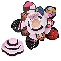Makeup Kits for Teens - Flower Make Up Pallete Gift Set for Teen Girls and Women - Petals Expand to 3 Tiers -Variety Shade Array - Full Starter Kit for Beginners or Cosplay by Bcamelys
