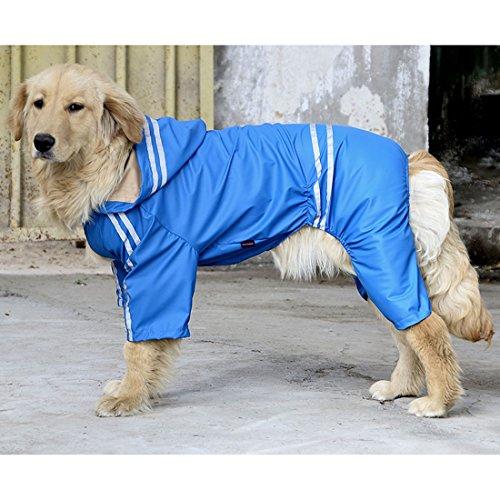 VICTORIE Hund Regenmantel Poncho Regensjacke Wasserdicht Leicht Reflektierende für große mittlere kleine Hund Blau 6XL
