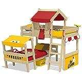 WICKEY Doppelbett CrAzY Trunky Etagenbett Kinderbett 90x200 für 2 Kinder in schrägem Design mit Lattenboden, rot-gelb