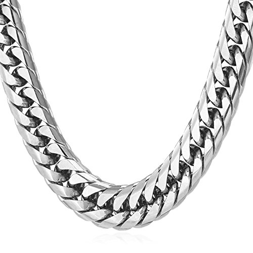 U7 Franco Curb Chain Necklace, Tight Thick Wide Cut Cuban Link Chain, 12MM Wide, 22Inch(55CM) Length, Gift for Men/Women, Stainless Steel Hip Hop Jewelry Chunky Necklace, GN1150-22