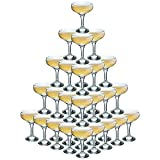 Rink Getränk 5 Tier Champagne Turm Set - 35 Gläser - 200 ml Weinlese-Champagne Coupe Saucers