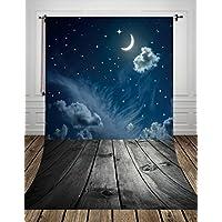 Coloc Photo 150*220cm le tissu de l'art fond la photographie toile de fond imprimé avec lumineux lune nuit ciel et gris foncé plancher de bois pour studio nouveau - né D-8189