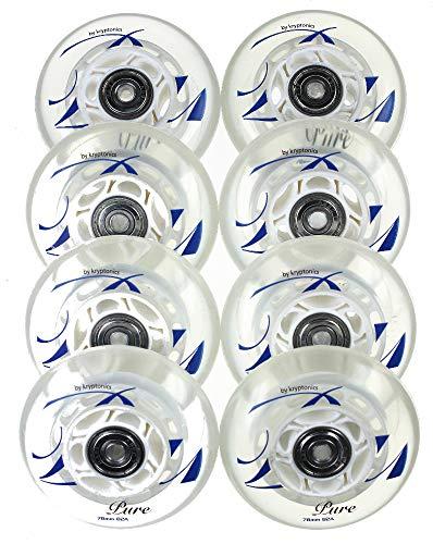 Kryptonics 4/8er Rollen True Pure 78mm K2 Skates nur Rollen oder Inlinerrollen fertig montiert - Einbauen losfahren incl. Rollen + Kugellager+Spacer 6mm (8er Set Rollen+Lager-ABEC5+Spacer)