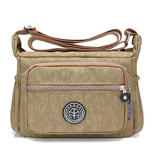 Outreo Umhängetasche Leichter Schultertasche Wasserdicht Taschen Damen Kuriertasche Mode Strandtasche Designer Messenger Bag Sporttasche Beige