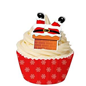 Pack of 12 Pre-Cut Edible Wafer Decorations - When Santa got stuck up the chimney 201-297