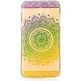 Funda para iPhone 5/5S/Se, wanyuda silicona funda de Gel suave claro transparente de TPU para iPhone 5/5S/Se–negro Mandala