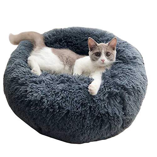 DEEN Rundes oder ovales Kuschelkissen für Welpen, Katze, weiches Sofa, Kuschel-Nest, Bett für kleine und mittelgroße Hunde und Katzen, waschbar -