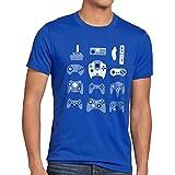 style3 Manette de jeu T-Shirt Homme game pad contrôleur vidéo console jeux, Taille:S;Couleur:Bleu