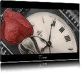 zarte rote Rose auf antiker Uhr schwarz/weiß auf Leinwand, XXL riesige Bilder fertig gerahmt mit Keilrahmen, Kunstdruck auf Wandbild mit Rahmen, günstiger als Gemälde oder Ölbild, kein Poster oder Plakat