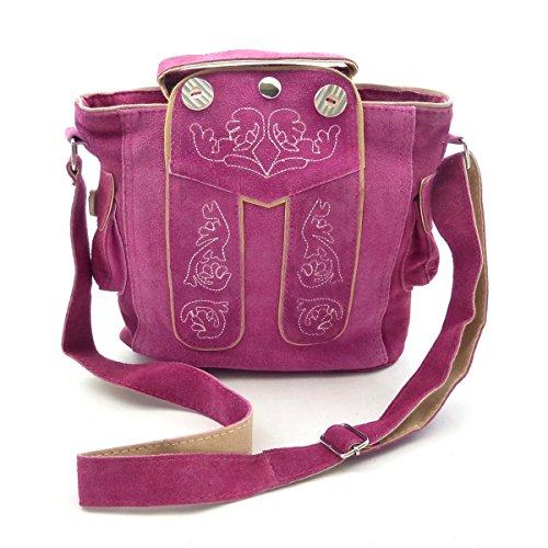 Trachtentasche Dirndltasche Lederhosen-Tasche Umhängetasche Leder Pink