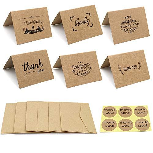 G2PLUS 36 Pack Thank You Karten –9 Designs Dankes Karte mit 36 Umschläge und Thank You Aufkleber für Hochzeit, Babyparty