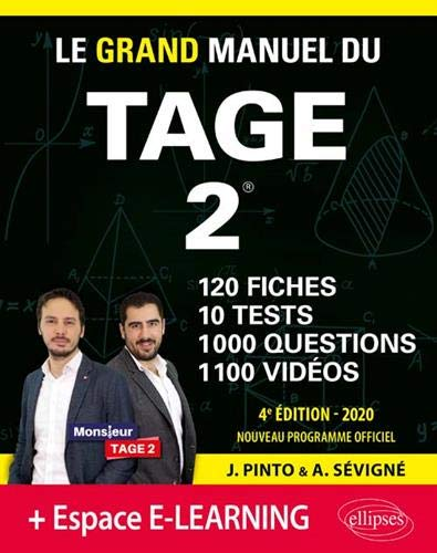 Le Grand Manuel du TAGE 2 – 10 tests blancs + 120 fiches de cours + 1000 vidéos – édition 2020 par Pinto Joachim,Sevigne Arnaud