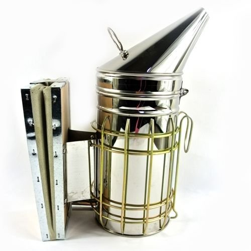 new-bee-hive-smoker-keeper-fogger-stainless-steel-heat-shield-apiary-equipment