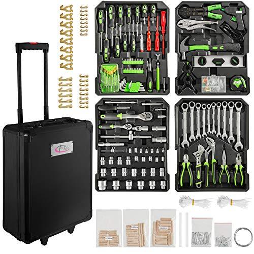 Tectake 899 set di attrezzi trolley valigia alluminio portattrezzi porta utensili cassetta