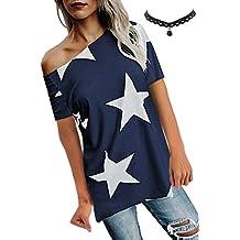 50-70% de descuento nuevo producto elige lo último Amazon.es: camisetas mujer - Azul
