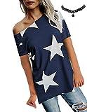 BUOYDM Donna Camicetta Estivo Camicia Casuale T-Shirt Basic in Cotone Senza Spalline Stampate Stella Maglietta Top Estate,Blu,XXL