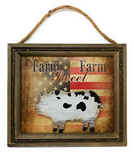 Unbekannt Country Farmhouse Style Holz rustikal Metall Wand Dekor mit 3D Farm Tiere Schwein -