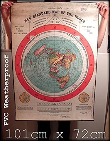 FLAT EARTH MAPS & POSTER PRINTS UK: DIGITAL REPRODUCTION OF GLEASONS NEW STANDARD MAP OF THE WORLD 1892 - (40x28 inch) (101cmx72cm) MEDIUM or EXTRA THICK PVC OUTDOOR WEATHERPROOF