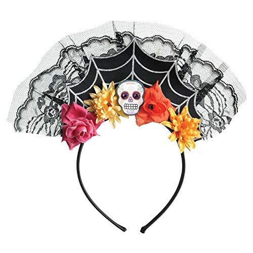 Damen Teenager Tag der Toten Zuckerschädel Spinnennetz Bunt Blumenmuster Blumen Haarband Stirnband Halloween Kostüm Zubehör