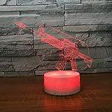 3D Lampara Led Luz Ilusión óptica Botón táctil color o 7 colores cambiar gradualmente Decoración del dormitorio del bebé regalo del día de San Valentín sueño asistido Arma de fuego