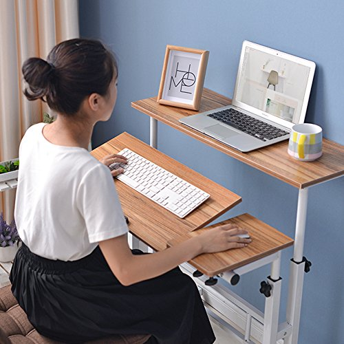 """Einstellbare sitzen, um aufzustehen Schreibtisch stehen Schreibtisch Laptop Schreibtisch Tisch Stand Computer Workstation mit Tastatur Computer Fall Räder Mobile Höhe 26,4 """"bis 45,3"""" 2-Tier-Portable Desk Home Office Heavy Duty (Braun)"""