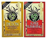 Triple Leaf Caffeine Free Herbal Tea 2 Flavor Variety Bundle: (1) Triple Leaf Chinese Detox Tea (20 count), and (1) Triple Leaf Super Slimming Tea (20 Count)
