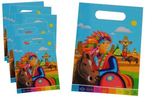 Land, Bun (8 STK. Partytüten Indianer - Indianerzelt Geburtstagstüten Folie Mitgebsel Tüten Tasche Pferd Indian)