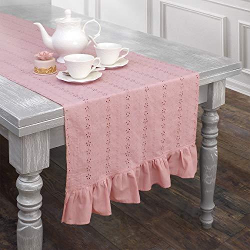 AT17 Tischläufer Extra Lange, Tischdecke, Deckchen Läufer Bestickt Landhaus Shabby Chic - Rüsche Volant/Sangallo Spitze - 60x240 - Rosa - 100% Baumwolle -