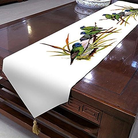 Oiseaux chemin de table velouté de qualité supérieure–Memorecool Superbe Franges Decor toutes saisons sans la lumière 33x 180,3cm 1pièce, blanc 1, 13x95inch