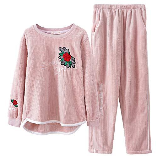 Yshuiyi Pyjamas Der Warme Warme Herbst- Und Wintermodelle Der Frauen Pyjamawinterkorallenvlies Modelliert Winterdienstanzug Der Flanellhausservice-Frauen