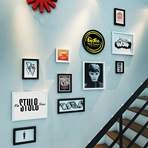 11 Bilderrahmen Treppe Wanddekoration Wand Kombination, TV Hintergrund Wandbehang Malerei Kombination Dekorative Malerei, kreative Wandbehang Massivholzrahmen, Audio Video Classics ( Farbe : EIN )