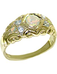 Solid 9ct Yellow Gold Natural Opal & Diamond Vintage Style Band Ring