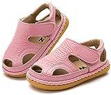 Gaatpot Unisex-Kinder Sandalen Mädchen Jungen Kindersandale Geschlossene Baby Sommer Leder Sandale Lauflernschuhe Schuhe Pink(Baby) 22.5 EU/18 CN