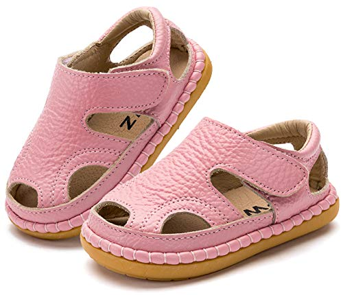 Gaatpot Unisex-Kinder Sandalen Mädchen Jungen Kindersandale Geschlossene Baby Sommer Leder Sandale Lauflernschuhe Schuhe Pink(Baby) 23 EU/20 CN (Kleinkind Schuhe Mädchen)