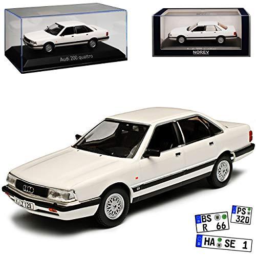 Norev A-U-D-I 200 C3 Quattro Limousine Weiss Baugleich A-U-D-I 100 1983-1991 2. Generation 1/43 Modell Auto mit individiuellem Wunschkennzeichen