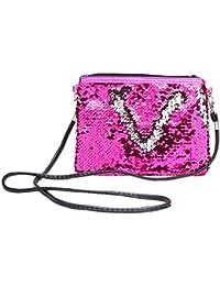 Make-up Veranstalter Frauen Glitter Pailletten Kleine Handtasche Make-up Taschen Crossbody Umh/ängetasche Geldb/örse LANDUM Kosmetiktasche Pink