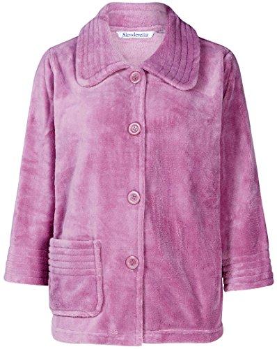 Slenderella Damen 3/4 Ärmel großen Luxus weichem lila lila Fleece Taste Up Bett Jacke (Bett Jacke)