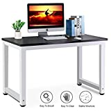 Computer Desk PC Laptop Table Workstation, Steel Frame Office Writing Desk with Movable Monitor Stand and File Shelf for Home Office, Black