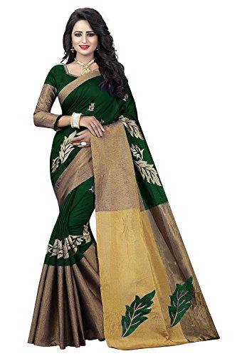J B Fashion Women's cotton saree with blouse piece (green)