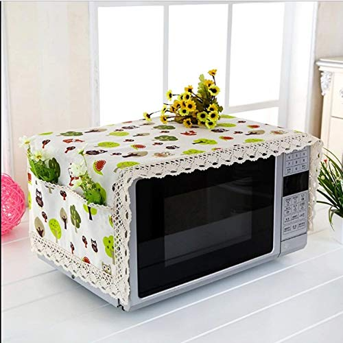 Microwave Oven Cover with 2 Pouch Dustproof Cloth Cover Romantic Style Microwave Oven Set - (Assorted Colour and Design) (Cotton)