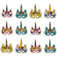 DUOPHY 12 piezas Rainbow Unicorn máscaras Kids Birthday Party Unicorn Party Supplies
