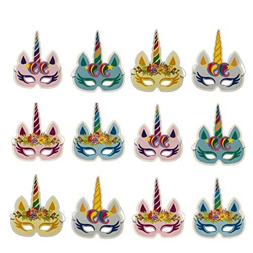 DUOPHY 12 Stück Regenbogen Einhorn Masken Kindergeburtstagsfeier Einhorn -