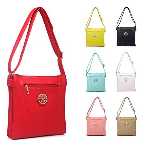 Grande borsa Designer Ispirato Multi Tasche Messenger Croce Corpo Borsa a tracolla Medium Beige (BH157)