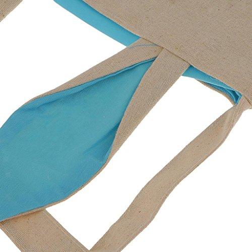 Electroprime® 3X Easter Bunny Bag Basket Tote Handbag Dual Layer Bunny Ears Jute Cloth Blue