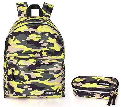 Charro zaino scuola americano mimetico fantasia militare giallo fluo + astuccio scuola portapastelli cartella ragazzo ragazza medie superiori liceo