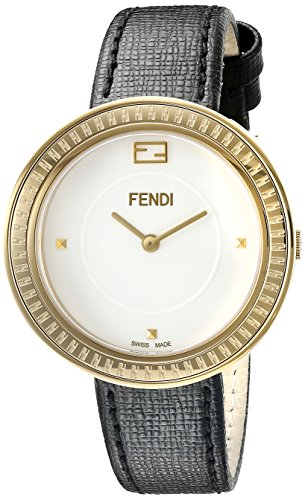 Fendi My Way F354434011 36mm Stainless Steel Case Black Calfskin Anti-Reflective Sapphire Women's Watch