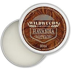 Wildwuchs Bartpflege - Bartwachs HAVANNA - Moustache Wax - Beard Balm für Bart-Styling - 1x 30 ml