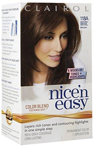 Clairol Coloration de longue durée Nice 'n Easy - Couleur 118A - Brun neutre moyen naturel