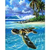 Malen Nach Zahlen Kits Geschenk Für Erwachsene KinderMach Es Selbst Haus Dekor - Drifting Turtle Animal 16×20 Zoll Ohne Rahmen